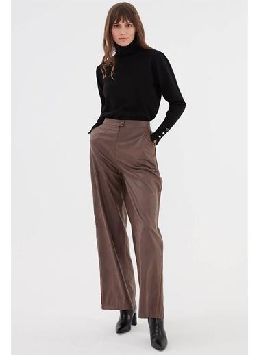 Vivencia Kadın Deri Pantolon  Vizon